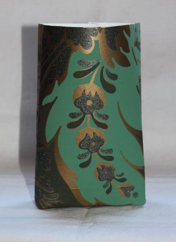 paperipussi turkoosi kulta koristein