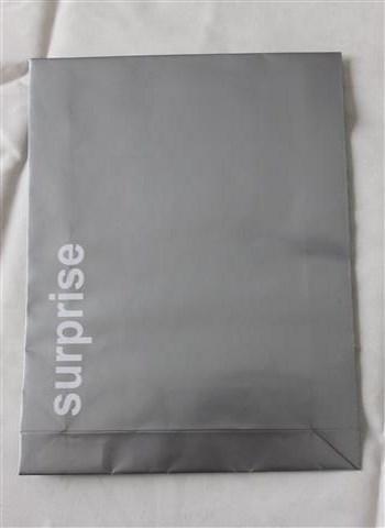 hopeinen paperipussi surpprise tekstillä