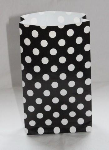 mustavalko pilkullinen paperipussi