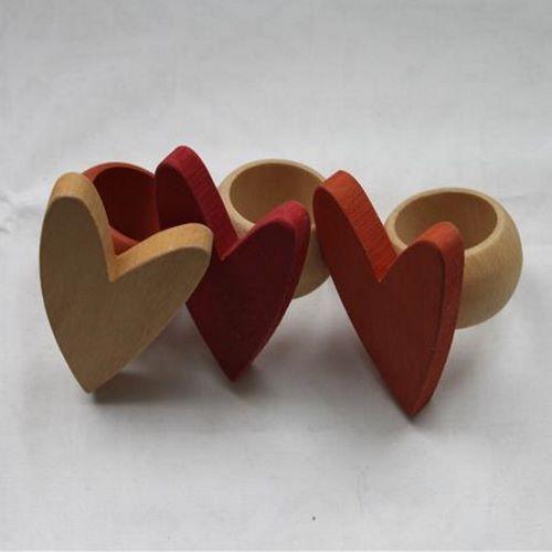 puiset sydän koristeiset lautasliinarenkaat